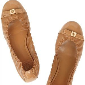 Tory Burch Romy leather ballet flat shoes tan sand